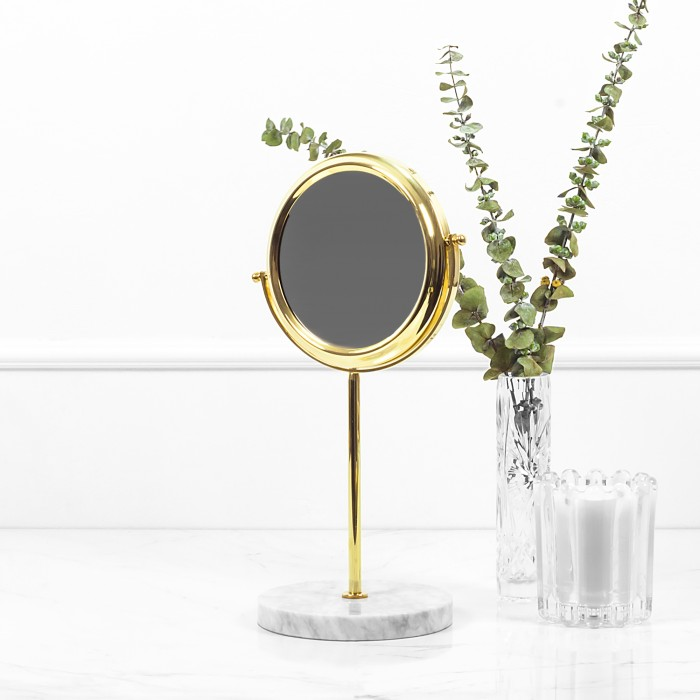 Brass Mirror with White...