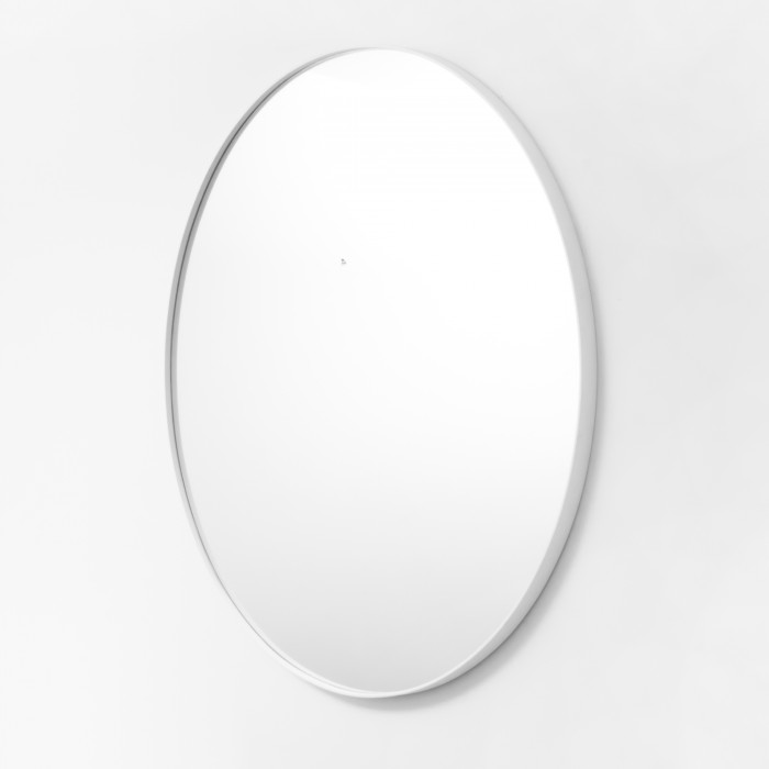 White Metal Round Mirror 100cm