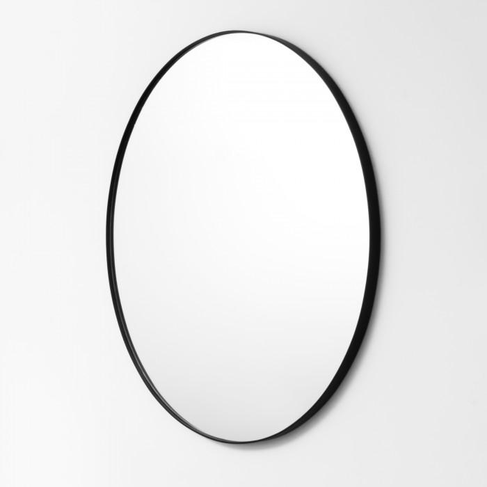 Black Metal Round Mirror 100cm